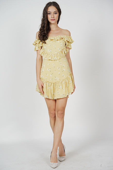Celia Frill Dress in Yellow Floral