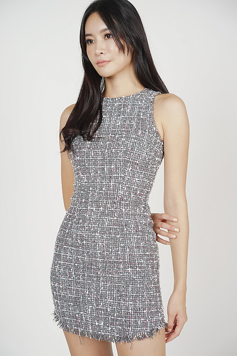 Azmia Tweed Dress in Grey - Arriving Soon