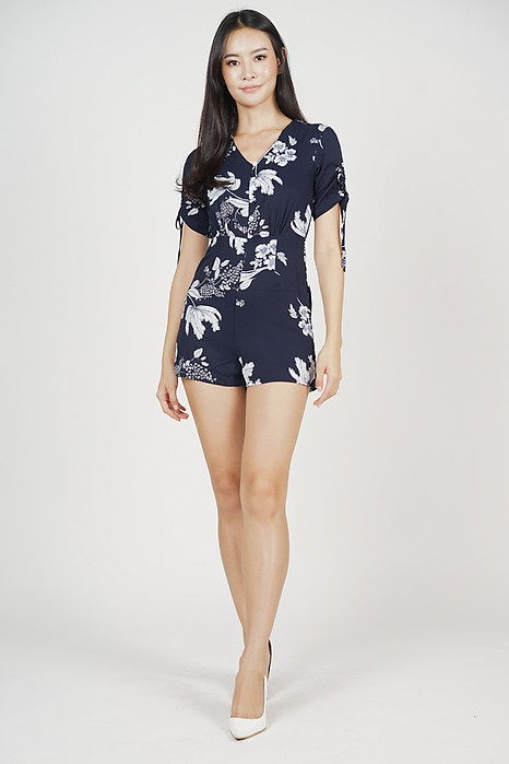 Justina Buttoned Romper in Midnight