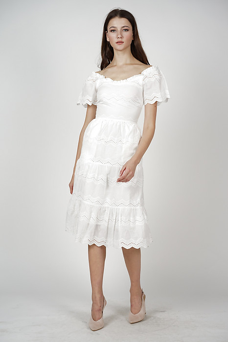 Euthalia Tiered Dress in White
