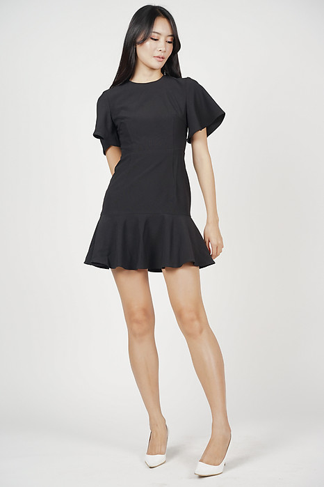 Adola Ruffled-Hem Dress in Black