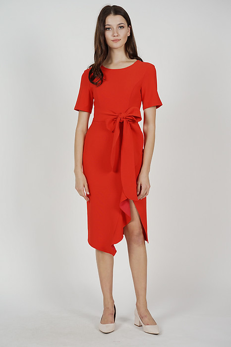 Jaden Ruffled Tie Dress in Red - Arriving Soon