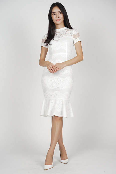 Jayrie Mermaid Dress in White - Arriving Soon