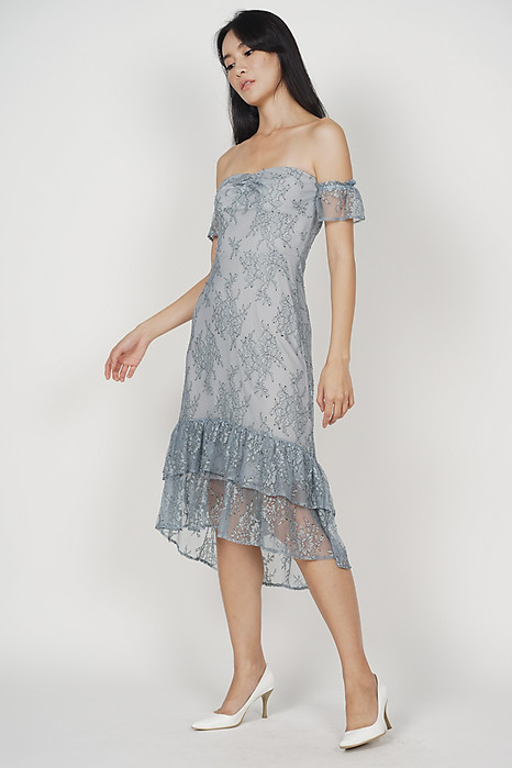 Doraina Lace Dress in Ash Blue