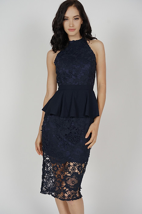 Suzy Peplum Lace Dress in Midnight