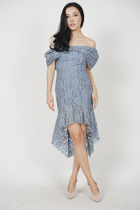 Bethany Ruffled-Hem Dress in Ash Blue