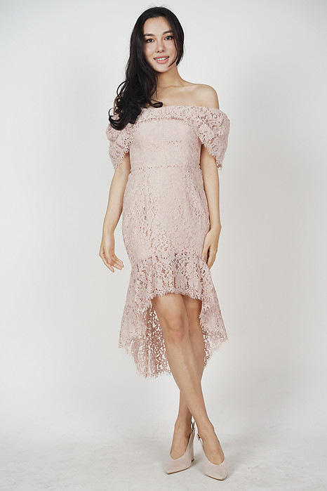 Bethany Ruffled-Hem Dress in Blush