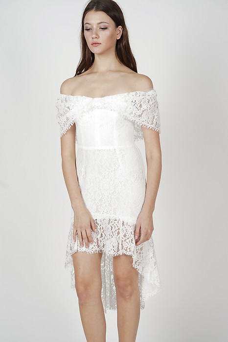 Bethany Ruffled-Hem Dress in White - Online Exclusive