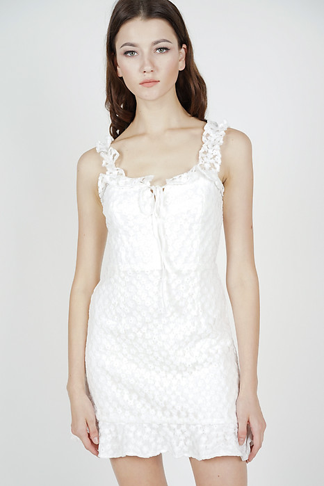 c874e556315 Moyna Lace-Up Dress in White - Arriving Soon