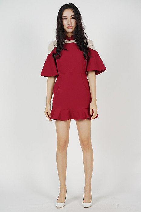 Gladys Mesh Skorts Romper in Red
