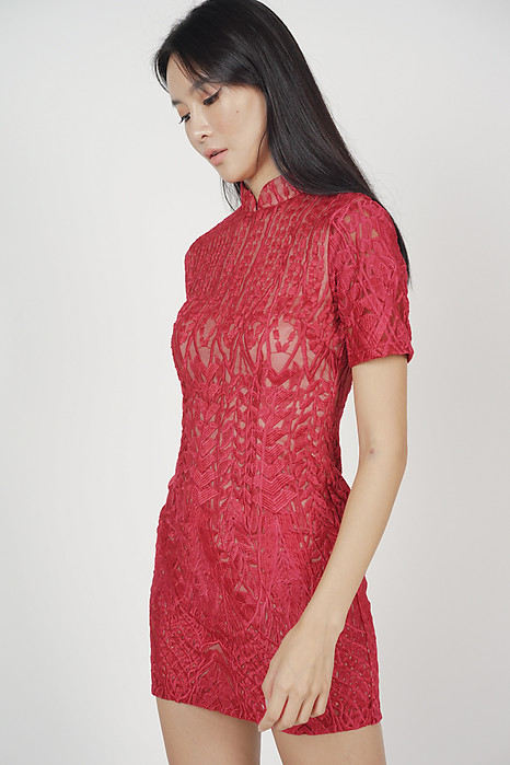 Catrina Lace Dress in Red