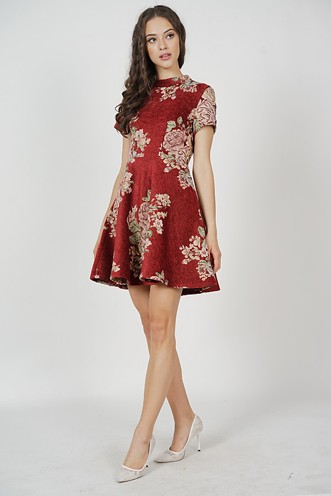 Brenda Flare Dress in Maroon Floral