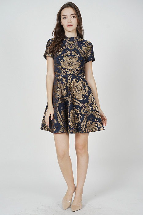 Brenda Flare Dress in Midnight Gold