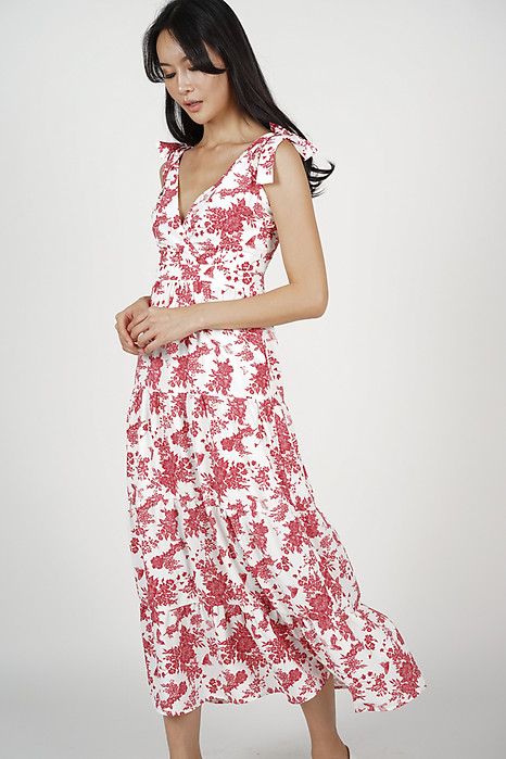 Eleksa Tiered Dress in Red Floral