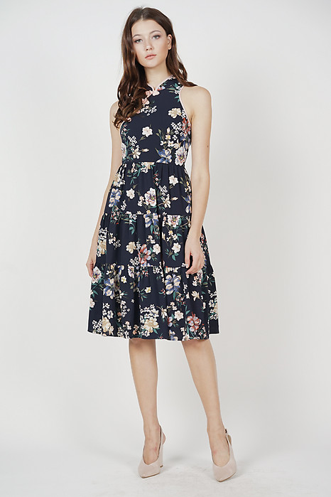 Sielri Tiered Dress in Midnight Floral