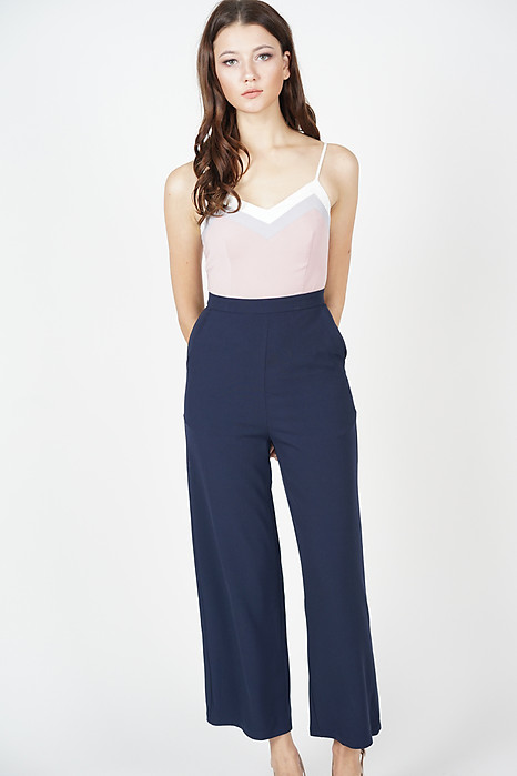 Delxie Contrast Jumpsuit in Navy - Online Exclusive