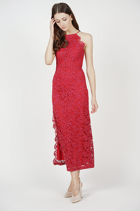 Sirena Lace Dress in Oxblood