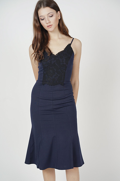 Jemaica Ruffled-Hem Dress in Midnight - Online Exclusive