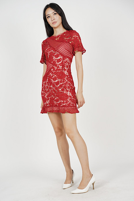 Marya Lace Dress in Red