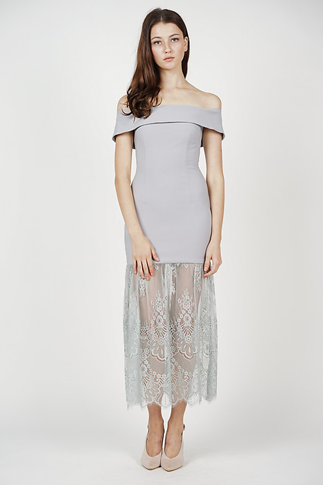 Akana Lace-Hem Dress in Ash Blue