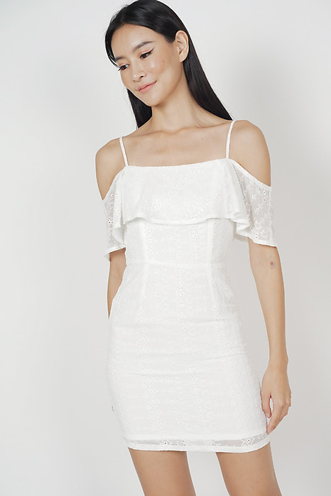Katrien Overlay Dress in White