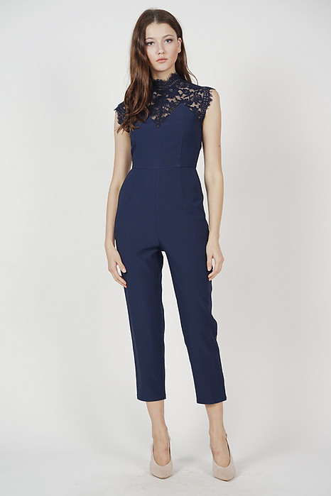 Nicoline Lace Jumpsuit in Midnight