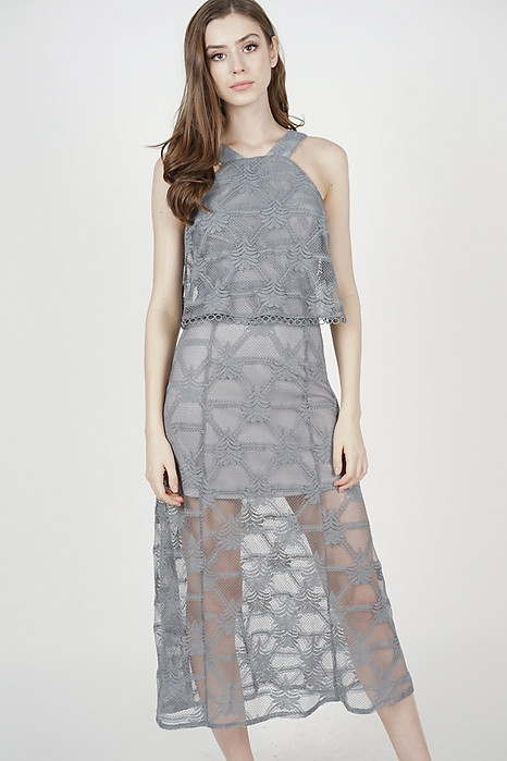 Ariadne Overlay Dress in Ash Grey