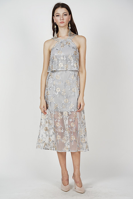 Ariadne Overlay Dress in Grey Floral - Arriving Soon
