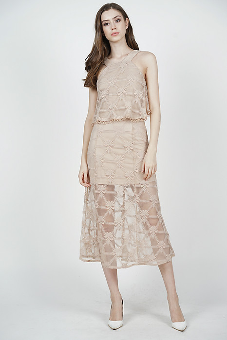 Ariadne Overlay Dress in Nude