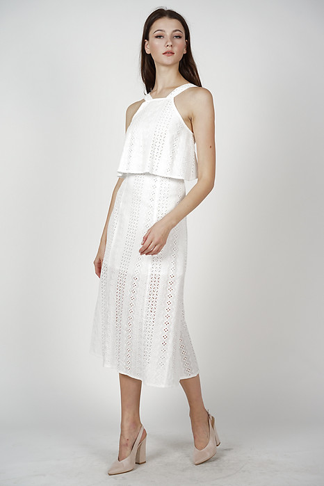 Ariadne Overlay Dress in White
