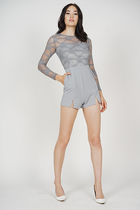 Millia Lace Romper in Blue - Arriving Soon