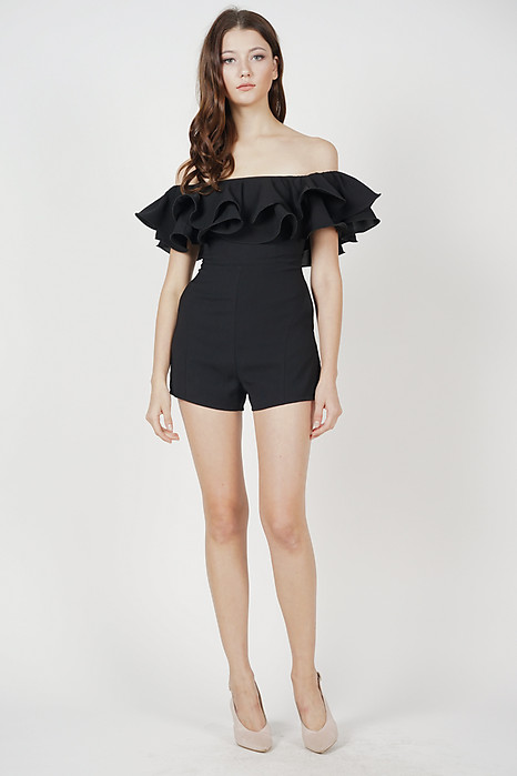 Paesha Ruffled Romper in Black