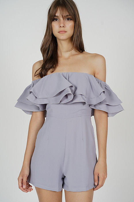 Paesha Ruffled Romper in Lilac - Arriving Soon