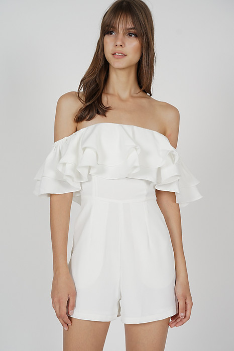 Paesha Ruffled Romper in White - Arriving Soon