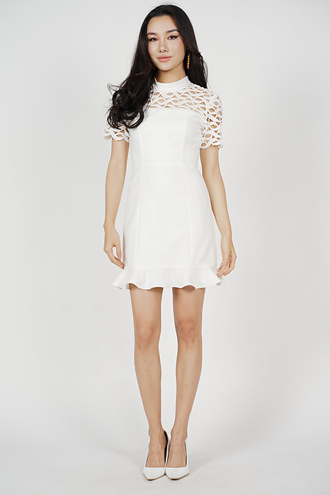 Klaris Ruffled-Hem Dress in White - Online Exclusive