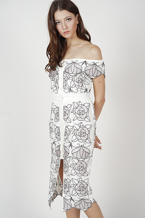 Jelaine Overlay Dress in White