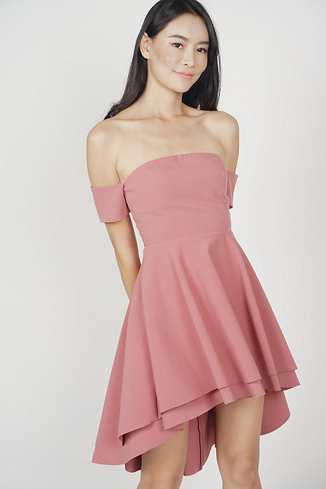 Erika Flounce Dress in Salmon