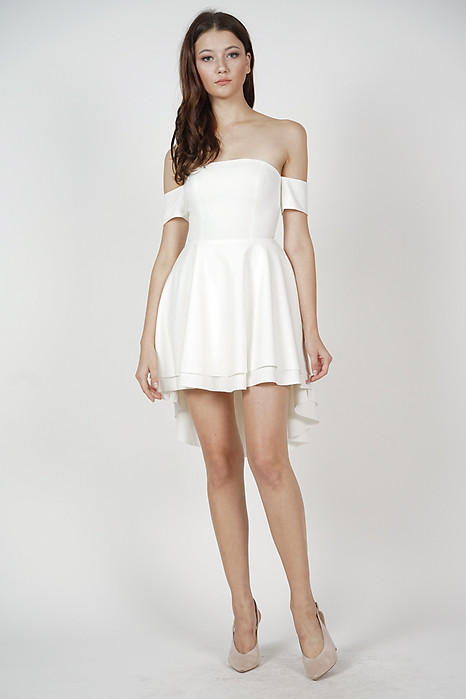 Erika Flounce Dress in White