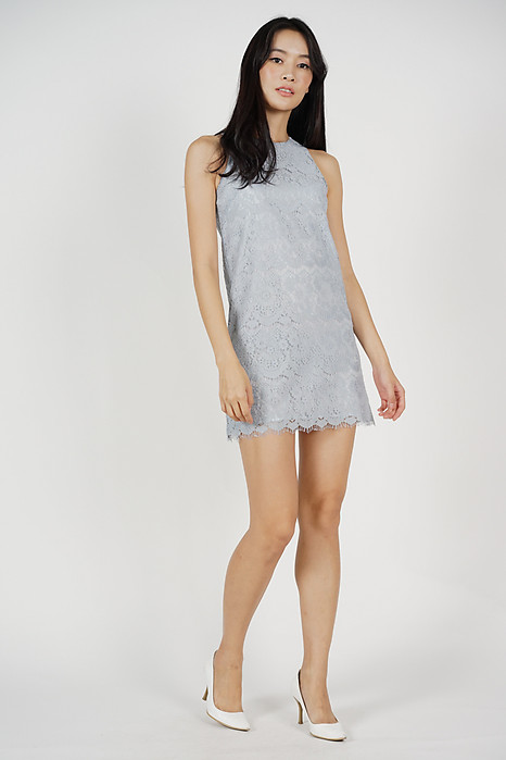 Rebecca Lace Dress in Ash Blue