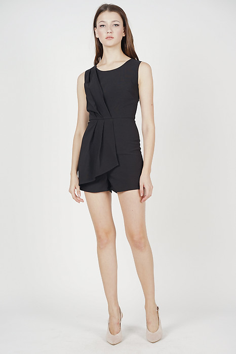 Kendrea Pleated Romper in Black