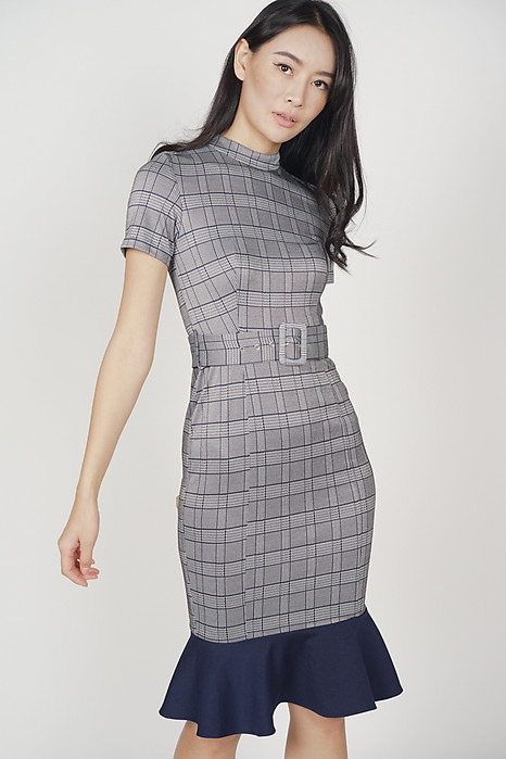 Morissa Mermaid Dress in Navy Checks