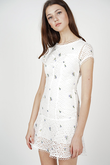 Fiona Flare-Hem Dress in White Floral - Arriving Soon
