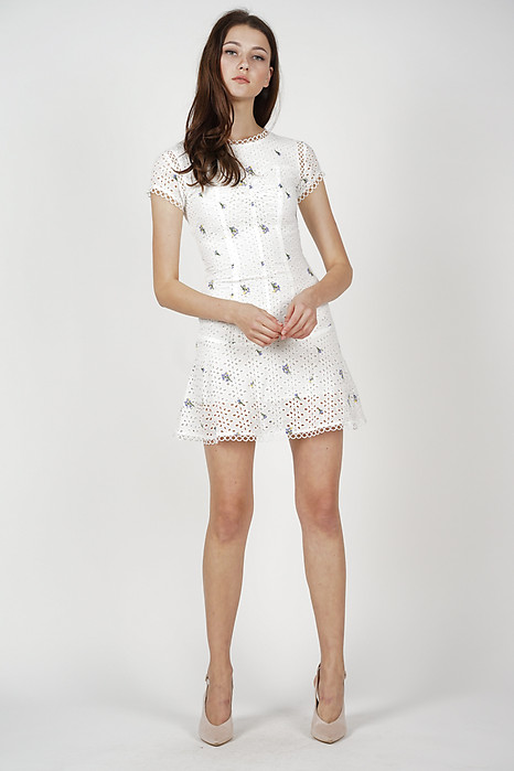 Fiona Flare-Hem Dress in White Floral