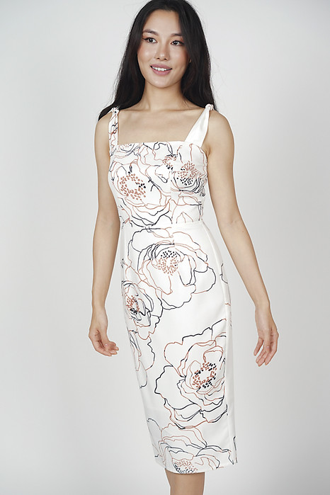 Glenda Midi Dress in White