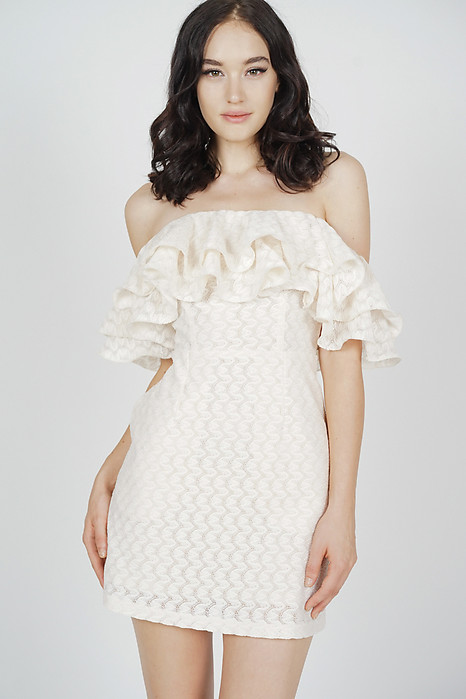 Ermia Flounce Dress in Cream