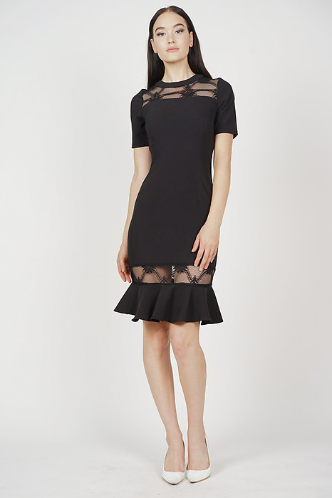 Jennifer Ruffled-Hem Dress in Black