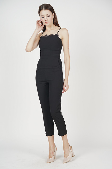 06d63e6d7501 Carmen Lace-Trimmed Jumpsuit in Black
