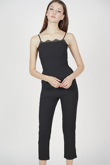 Carmen Lace-Trimmed Jumpsuit in Black