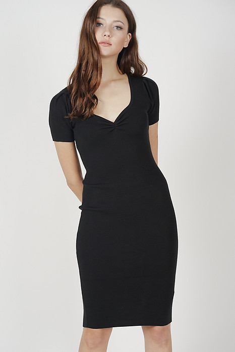 Rina Gathered Front Dress in Black - Online Exclusive