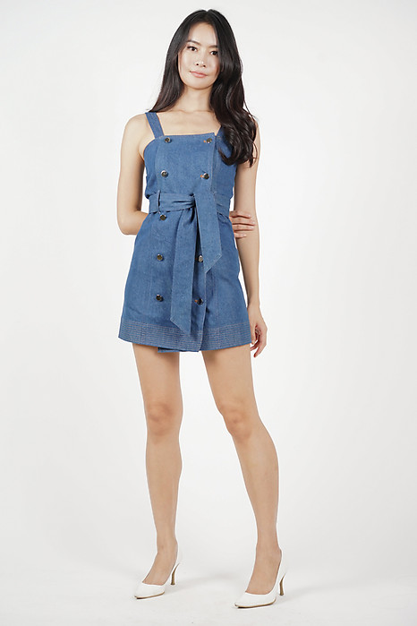 Kyla Buttoned Denim Dress in Blue - Arriving Soon